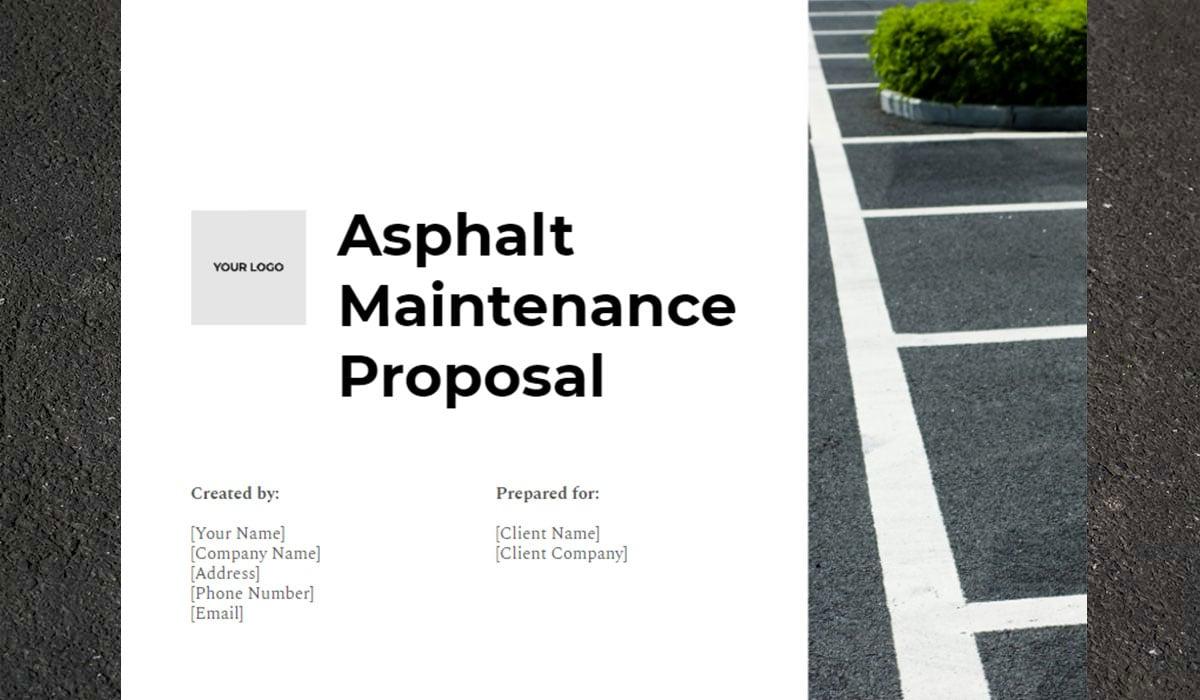 Free Proposal Template for Asphalt Maintenance
